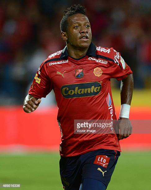 Brayan Angulo of Independiente Medellin celebrates after scoring the second goal of his team during a match between Medellin and Deportivo Cali as...