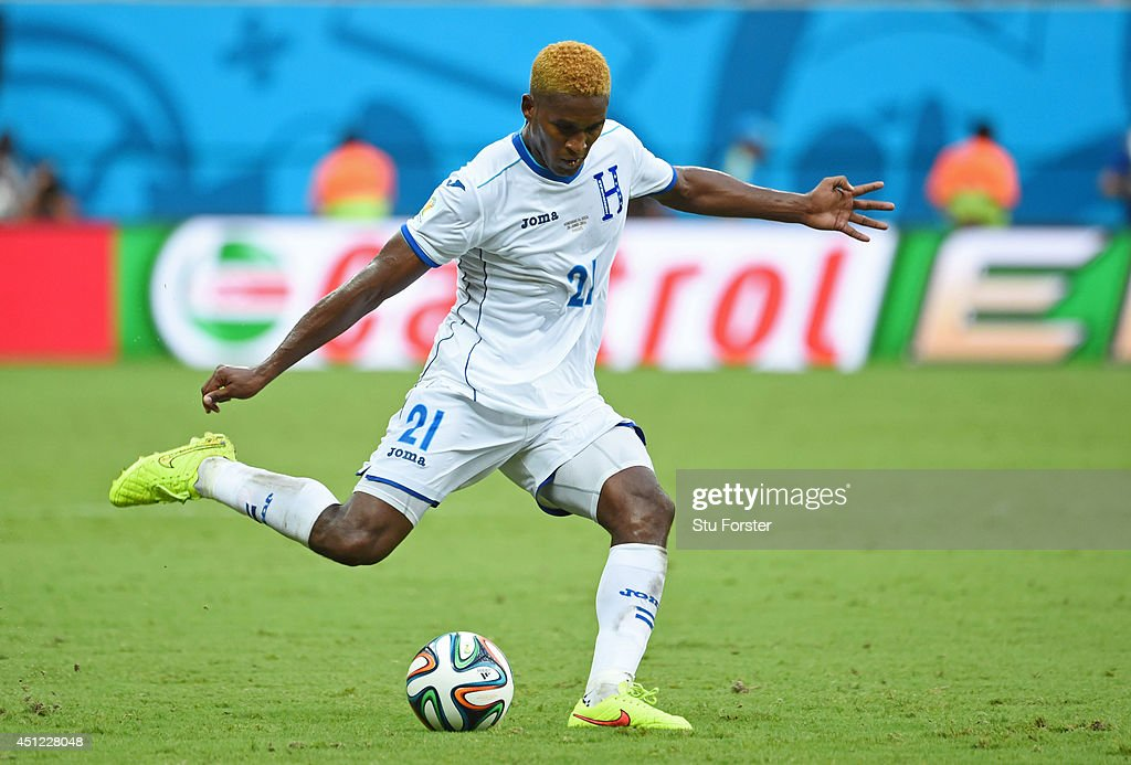 <a gi-track='captionPersonalityLinkClicked' href=/galleries/search?phrase=Brayan+Beckeles&family=editorial&specificpeople=7834358 ng-click='$event.stopPropagation()'>Brayan Beckeles</a> of Honduras controls the ball during the 2014 FIFA World Cup Brazil Group E match between Honduras and Switzerland at Arena Amazonia on June 25, 2014 in Manaus, Brazil.