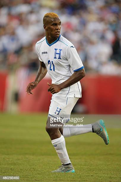 Brayan Beckeles of Honduras during the CONCACAF Gold Cup match between Honduras and Panama at Gillette Stadium on July 10 2015 in Foxboro...