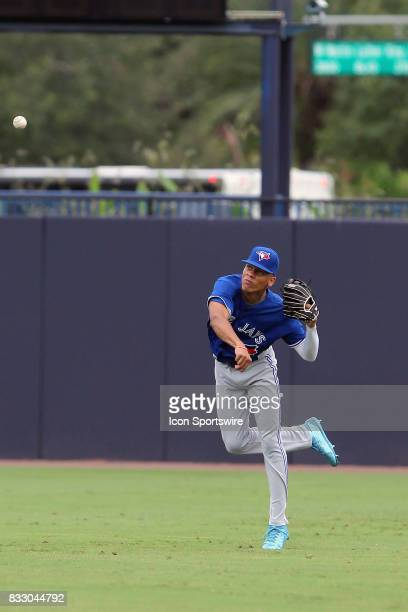 Brayan Hernandez of Leader Christian Academy throws the ball in from centerfield before the East Coast Pro Showcase on August 02 at Steinbrenner...