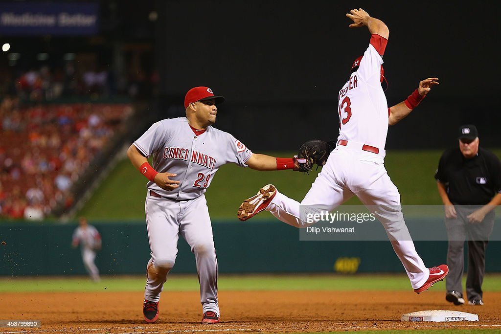 <a gi-track='captionPersonalityLinkClicked' href=/galleries/search?phrase=Brayan+Pena&family=editorial&specificpeople=545678 ng-click='$event.stopPropagation()'>Brayan Pena</a> #29 of the Cincinnati Reds tags out <a gi-track='captionPersonalityLinkClicked' href=/galleries/search?phrase=Matt+Carpenter+-+Baseball+Player&family=editorial&specificpeople=9872119 ng-click='$event.stopPropagation()'>Matt Carpenter</a> #13 of the St. Louis Cardinals at first base in the ninth inning at Busch Stadium on August 18, 2014 in St. Louis, Missouri. The Cardinals beat the Reds in 10 innings.