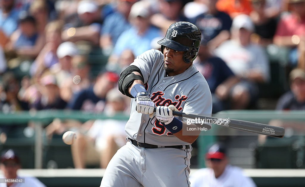 <a gi-track='captionPersonalityLinkClicked' href=/galleries/search?phrase=Brayan+Pena&family=editorial&specificpeople=545678 ng-click='$event.stopPropagation()'>Brayan Pena</a> #55 of the Detroit Tigers bats during the game against the Atlanta Braves on February 22, 2013 in Lake Buena Vista, Florida. The Tigers defeated the Braves 2-1.