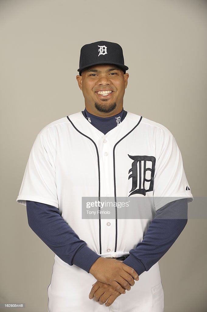 <a gi-track='captionPersonalityLinkClicked' href=/galleries/search?phrase=Brayan+Pena&family=editorial&specificpeople=545678 ng-click='$event.stopPropagation()'>Brayan Pena</a> #55 of the Detroit Tigers poses during Photo Day on February 19, 2013 at Joker Marchant Stadium in Lakeland, Florida.