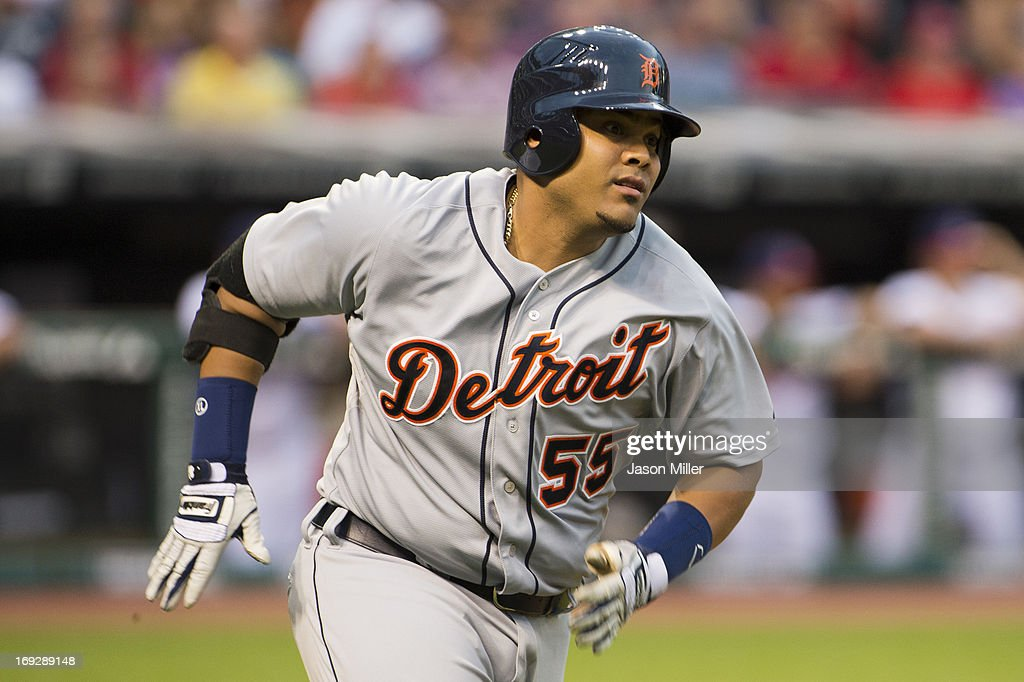 <a gi-track='captionPersonalityLinkClicked' href=/galleries/search?phrase=Brayan+Pena&family=editorial&specificpeople=545678 ng-click='$event.stopPropagation()'>Brayan Pena</a> #55 of the Detroit Tigers runs the bases on an RBI double during the third inning against the Cleveland Indians at Progressive Field on May 22, 2013 in Cleveland, Ohio.