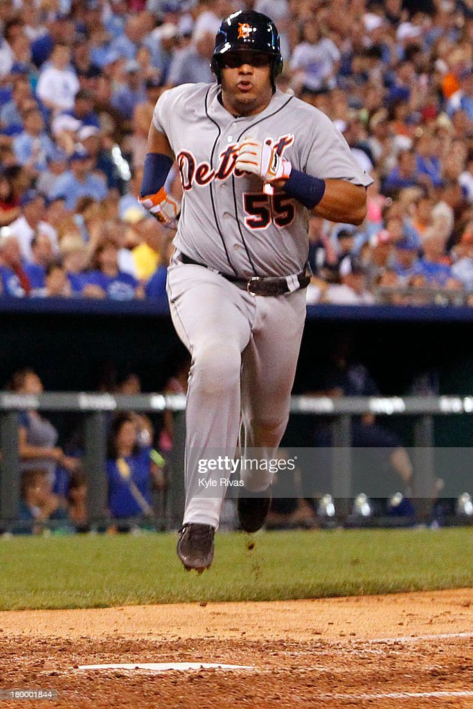 <a gi-track='captionPersonalityLinkClicked' href=/galleries/search?phrase=Brayan+Pena&family=editorial&specificpeople=545678 ng-click='$event.stopPropagation()'>Brayan Pena</a> #55 of the Detroit Tigers ties the game at two against the Kansas City Royals in the 5th inning on September 7, 2013 at Kauffman Stadium in Kansas City, Missouri.