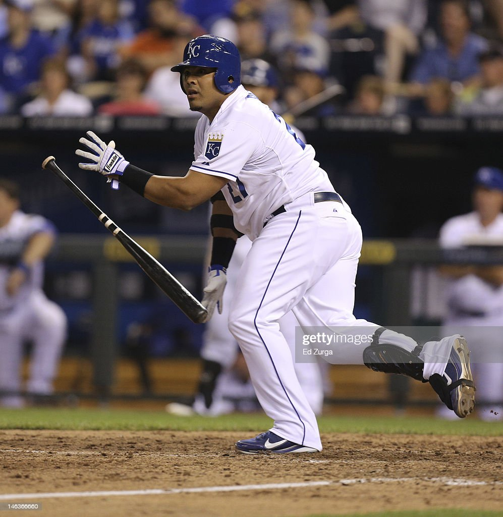 Brayan Pena #27 of the Kansas City Royals hits a game-winning two-run single during an interleague game against the Milwaukee Brewers at Kauffman Stadium on June 14, 2012 in Kansas City, Missouri. The Royals won 4-3.