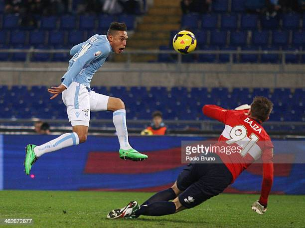 Brayan Perea of SS Lazio scores the opening goal during the TIM cup match between SS Lazio and Parma FC at Olimpico Stadium on January 14 2014 in...