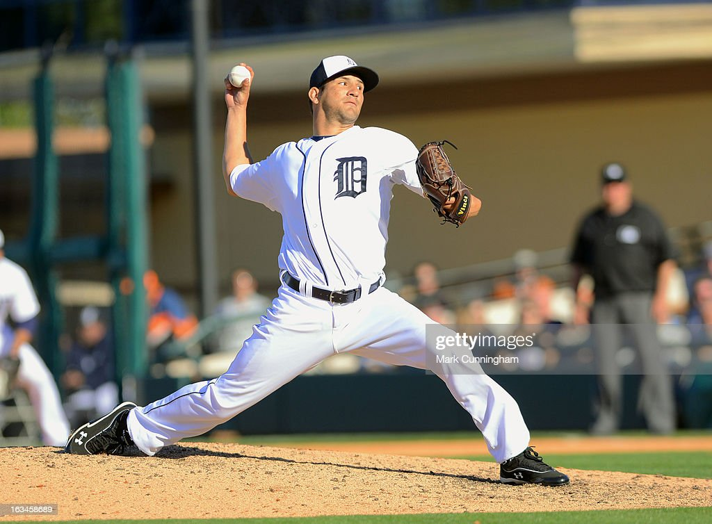 Brayan Villarreal #60 of the Detroit Tigers pitches during the spring training game against the Houston Astros at Joker Marchant Stadium on March 4, 2013 in Lakeland, Florida. The Tigers defeated the Astros 8-5.