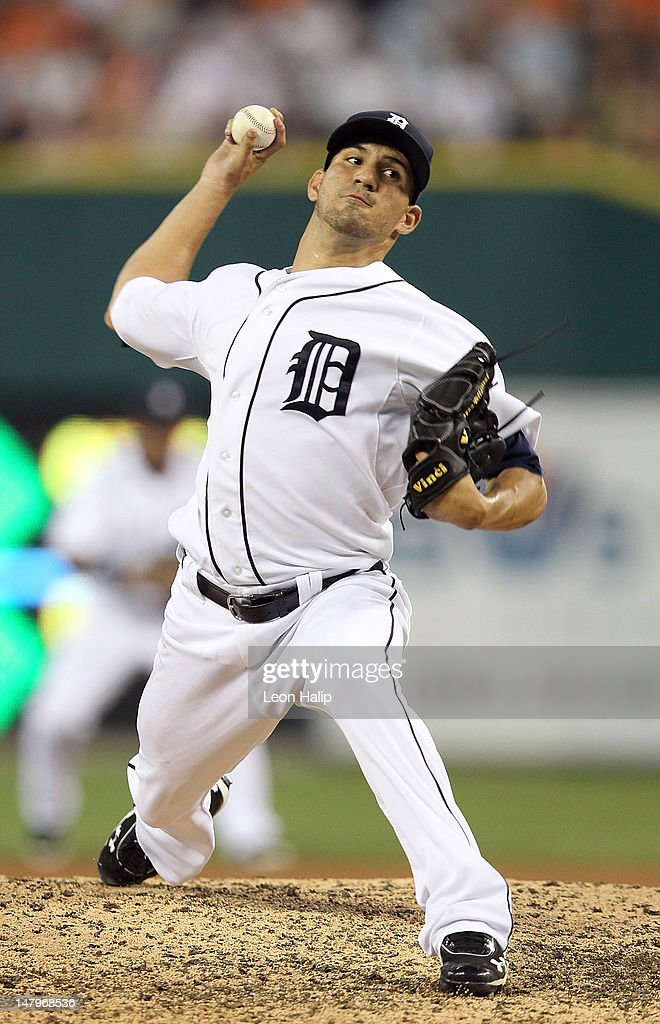 Brayan Villarreal #60 of the Detroit Tigers pitches in the seventh inning during the game against the Kansas City Royals at Comerica Park on July 6, 2012 in Detroit, Michigan. The Tigers defeated the Royals 4-2.