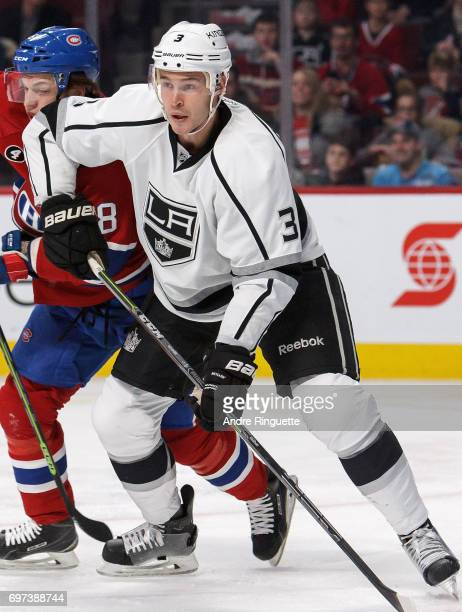 Brayden McNabb of the Los Angeles Kings plays in the game against the Montreal Canadiens at the Bell Centre on December 12 2014 in Montreal Quebec...