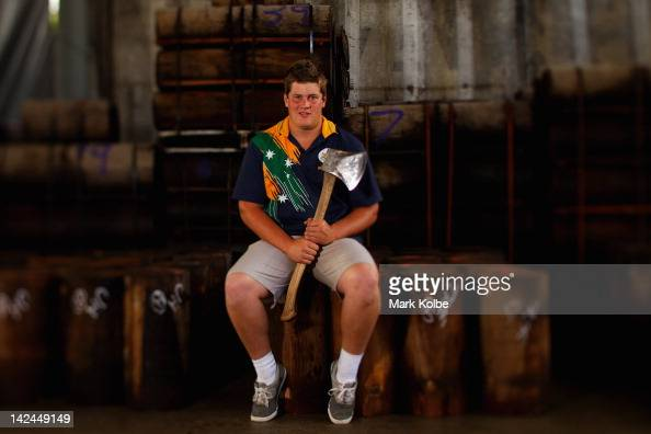 Brayden Meyer of Victoria poses in the timber store of the Woodchop Stadium during the 2012 Sydney Royal Easter Show at the Sydney Showground on...
