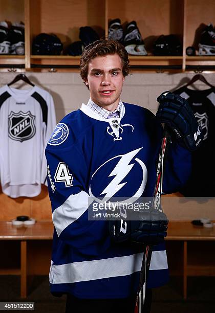 Brayden Point 79th overall pick of the Tampa Bay Lightning poses for a portrait during the 2014 NHL Entry Draft at Wells Fargo Center on June 28 2014...