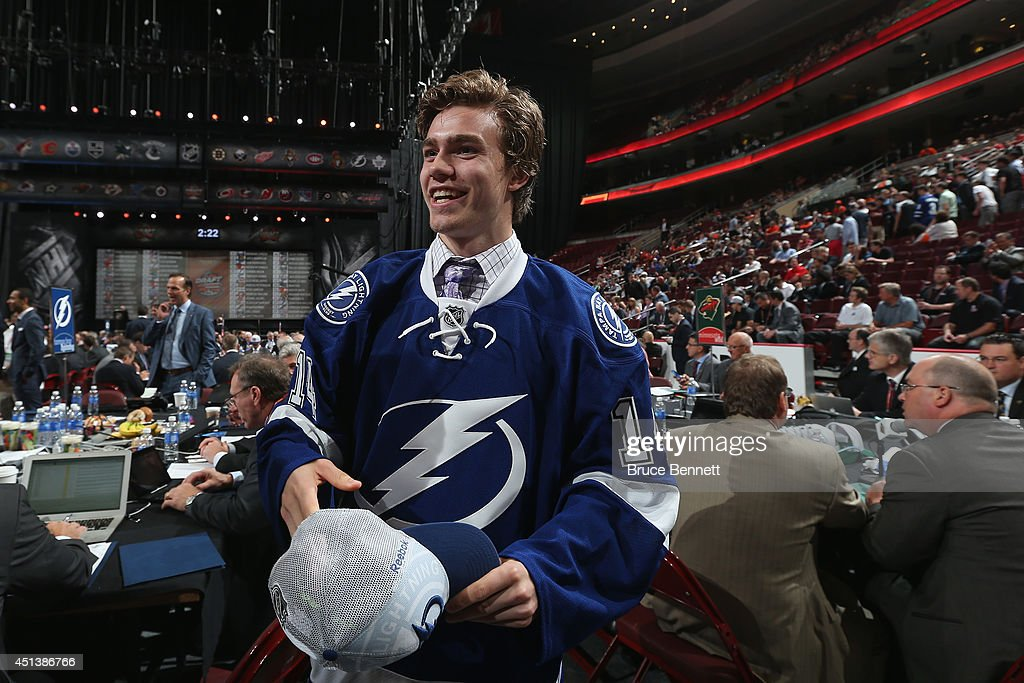 Brayden Point meets his team after being drafted #79 by the Tampa Bay Lightning on Day Two of the 2014 NHL Draft at the Wells Fargo Center on June 28, 2014 in Philadelphia, Pennsylvania.