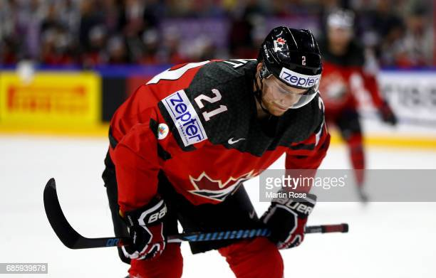 Brayden Point of Canada reacts during the 2017 IIHF Ice Hockey World Championship semi final game between Canada and Russia at Lanxess Arena on May...