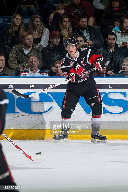 Brayden Point of Moose Jaw Warriors passes the puck against the Kelowna Rockets on February 14 2015 at Prospera Place in Kelowna British Columbia...