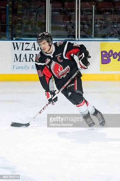 Brayden Point of Moose Jaw Warriors warms up against the Kelowna Rockets on February 14 2015 at Prospera Place in Kelowna British Columbia Canada
