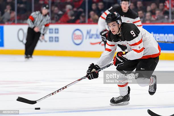 Brayden Point of Team Canada carries the puck during the 2015 IIHF World Junior Hockey Championship game against Team Germany at the Bell Centre on...