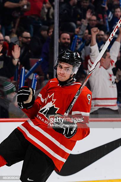 Brayden Point of Team Canada celebrates his goal during the 2015 IIHF World Junior Hockey Championship exhibition game against the Team Switzerland...