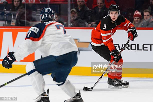 Brayden Point of Team Canada looks to play the puck during the 2015 IIHF World Junior Hockey Championship game against Team Slovakia at the Bell...