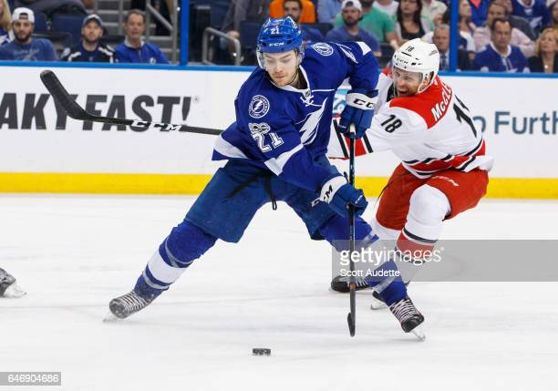 Brayden Point of the Tampa Bay Lightning shoots the puck against Jay McClement of the Carolina Hurricanes during the third period at Amalie Arena on...