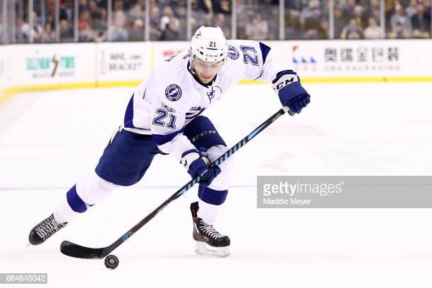 Brayden Point of the Tampa Bay Lightning skates against the Boston Bruins during the second period at TD Garden on April 4 2017 in Boston...