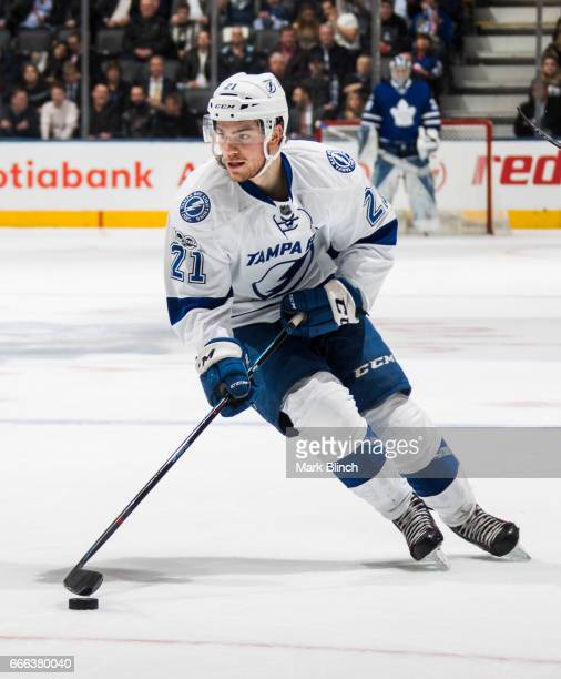 Brayden Point of the Tampa Bay Lightning skates against the Toronto Maple Leafs during the third period at the Air Canada Centre on April 6 2017 in...
