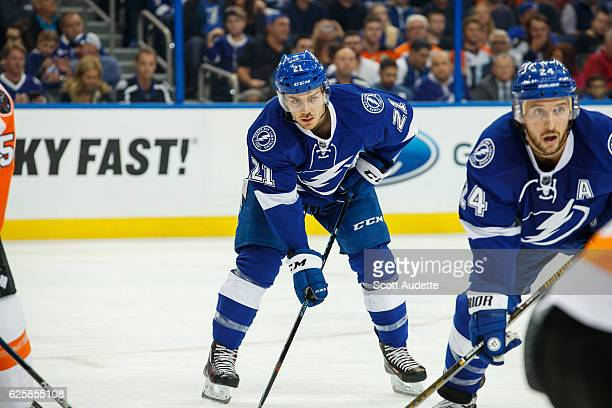 Brayden Point of the Tampa Bay Lightning skates during the first period against the Philadelphia Flyers at Amalie Arena on November 23 2016 in Tampa...