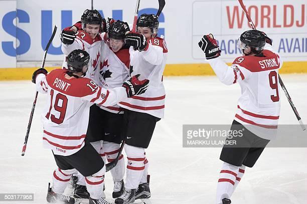 Brayden Point Travis Sanheim Mitch Marner Jake Virtanen and Dylan Strome of Canada celebrate during the 2016 IIHF World Junior Ice Hockey...