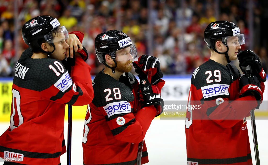 Brayden Schenn, Claude Giroux and Nate Mackinnon of Canada look dejected after the 2017 IIHF Ice Hockey World Championship Gold Medal game Canada and Sweden at Lanxess Arena on May 21, 2017 in Cologne, Germany.
