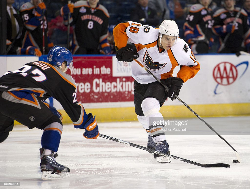 Brayden Schenn #10 of the Adirondack Phantoms controls the puck during an American Hockey League game against the Bridgeport Sound Tigers on December 22, 2012 at the Webster Bank Arena at Harbor Yard in Bridgeport, Connecticut.