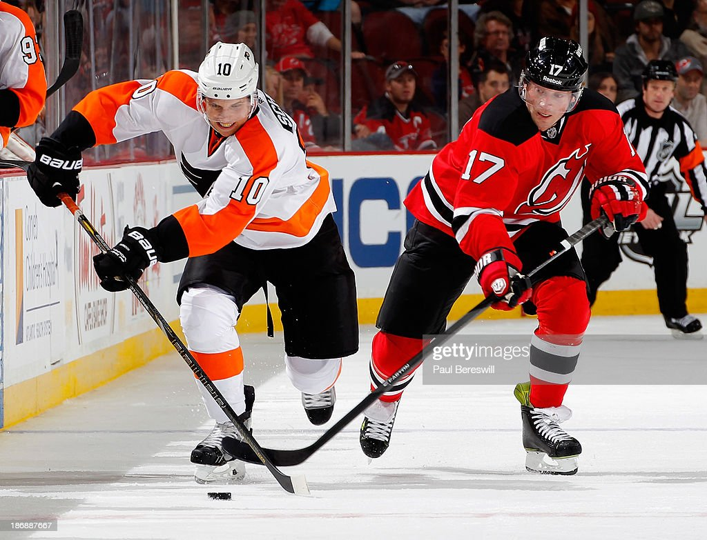Brayden Schenn #10 of the Philadelphia Flyers and Michael Ryder #17 of the New Jersey Devils skate in an NHL hockey game at Prudential Center on November 2, 2013 in Newark, New Jersey. (Photo by Paul Bereswill/Getty Images)r