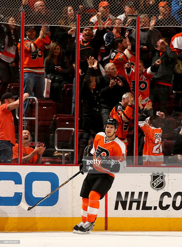 <a gi-track='captionPersonalityLinkClicked' href=/galleries/search?phrase=Brayden+Schenn&family=editorial&specificpeople=4782304 ng-click='$event.stopPropagation()'>Brayden Schenn</a> #10 of the Philadelphia Flyers celebrates his goal in the third period against the Buffalo Sabres at Wells Fargo Center on April 6, 2014 in Philadelphia, Pennsylvania.The Philadelphia Flyers defeated the Buffalo Sabres 5-2.