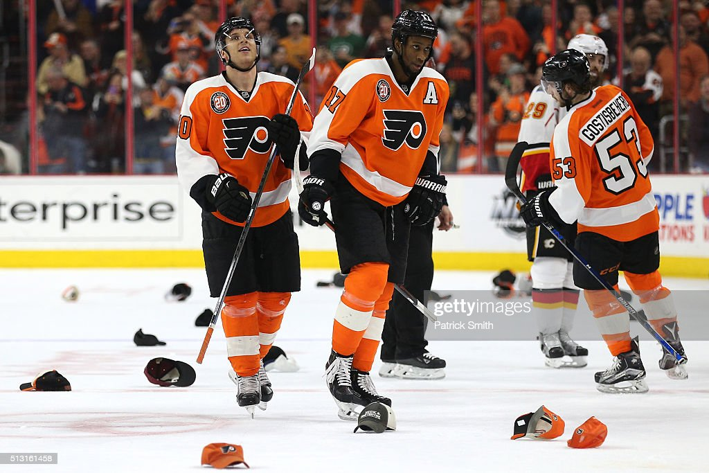 Brayden Schenn #10 of the Philadelphia Flyers looks on after scoring a hat trick against the Calgary Flames during the second period at Wells Fargo Center on February 29, 2016 in Philadelphia, Pennsylvania.