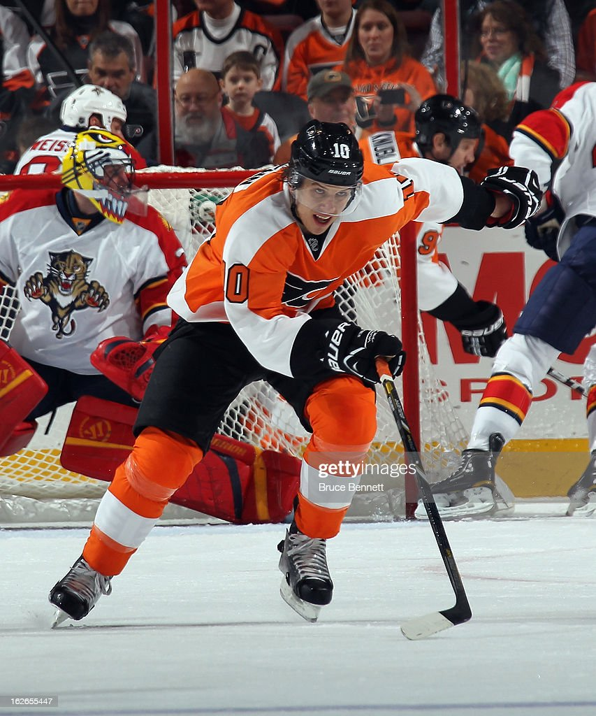<a gi-track='captionPersonalityLinkClicked' href=/galleries/search?phrase=Brayden+Schenn&family=editorial&specificpeople=4782304 ng-click='$event.stopPropagation()'>Brayden Schenn</a> #10 of the Philadelphia Flyers skates against the Florida Panthers at the Wells Fargo Center on February 21, 2013 in Philadelphia, Pennsylvania.