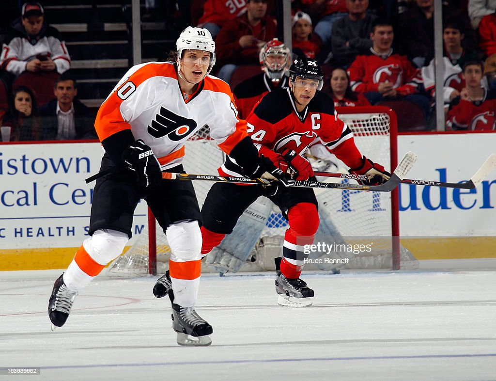 <a gi-track='captionPersonalityLinkClicked' href=/galleries/search?phrase=Brayden+Schenn&family=editorial&specificpeople=4782304 ng-click='$event.stopPropagation()'>Brayden Schenn</a> #10 of the Philadelphia Flyers skates against the New Jersey Devils at the Prudential Center on March 13, 2013 in Newark, New Jersey. The Devils defeated the Flyers 5-2.