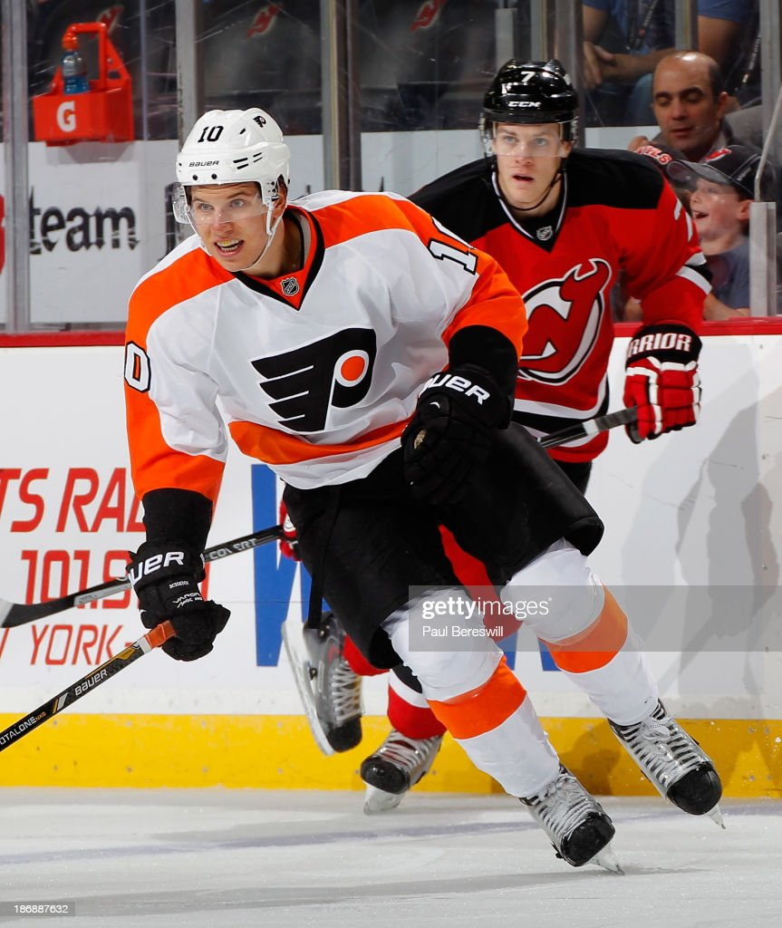 Brayden Schenn #10 of the Philadelphia Flyers skates during an NHL hockey game against the New Jersey Devils at Prudential Center on November 2, 2013 in Newark, New Jersey.