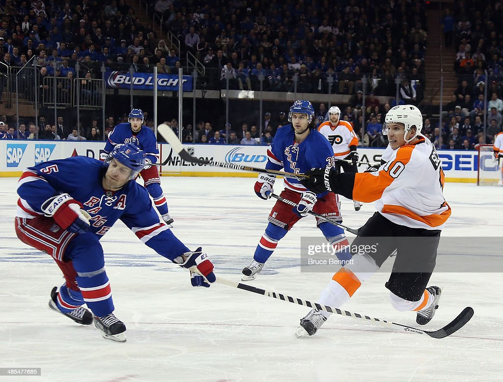 <a gi-track='captionPersonalityLinkClicked' href=/galleries/search?phrase=Brayden+Schenn&family=editorial&specificpeople=4782304 ng-click='$event.stopPropagation()'>Brayden Schenn</a> #10 of the Philadelphia Flyers takes the shot against the New York Rangers in Game One of the First Round of the 2014 NHL Stanley Cup Playoffs at Madison Square Garden on April 17, 2014 in New York City. The Rangers defeated the Flyers 4-1.