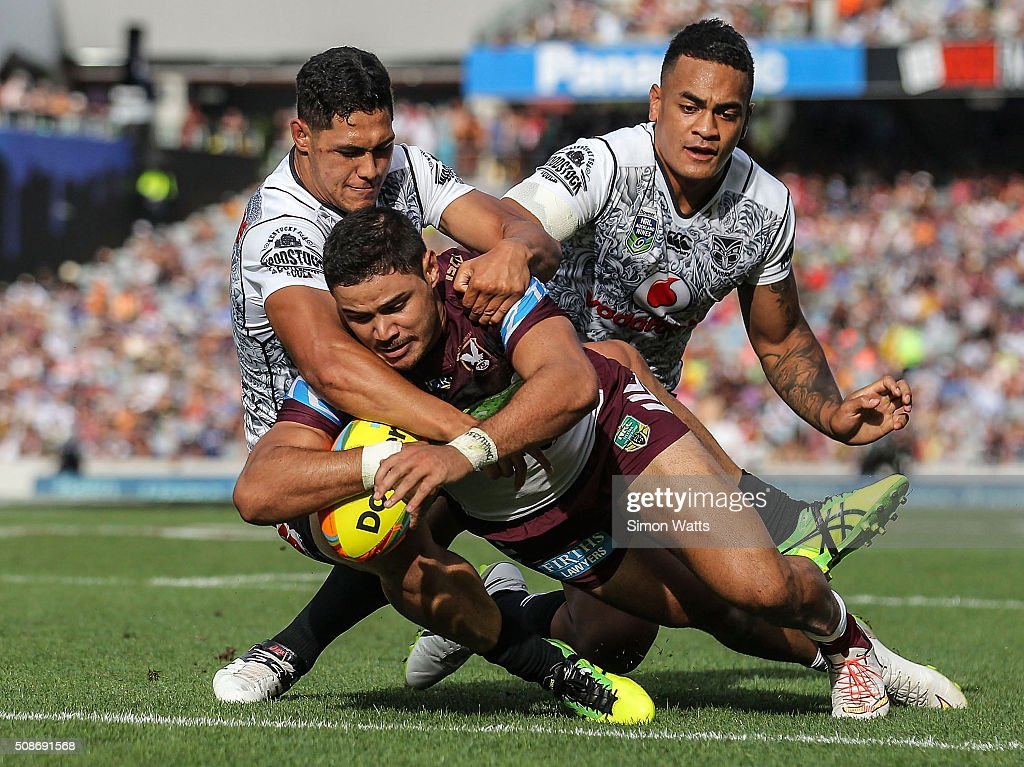 Brayden Williame of the Sea Eagles scores a try during the 2016 Auckland Nines match betweenthe Warriors and the Sea Eagles at Eden Park on February 6, 2016 in Auckland, New Zealand.
