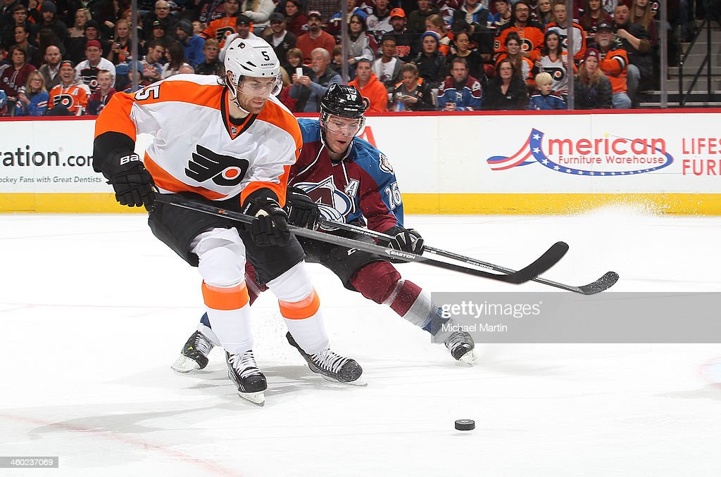 <a gi-track='captionPersonalityLinkClicked' href=/galleries/search?phrase=Braydon+Coburn&family=editorial&specificpeople=2077063 ng-click='$event.stopPropagation()'>Braydon Coburn</a> #5 of the Philadelphia Flyers skates against <a gi-track='captionPersonalityLinkClicked' href=/galleries/search?phrase=Paul+Stastny&family=editorial&specificpeople=2494330 ng-click='$event.stopPropagation()'>Paul Stastny</a> #26 of the Colorado Avalanche at the Pepsi Center on January, 2014 in Denver, Colorado.