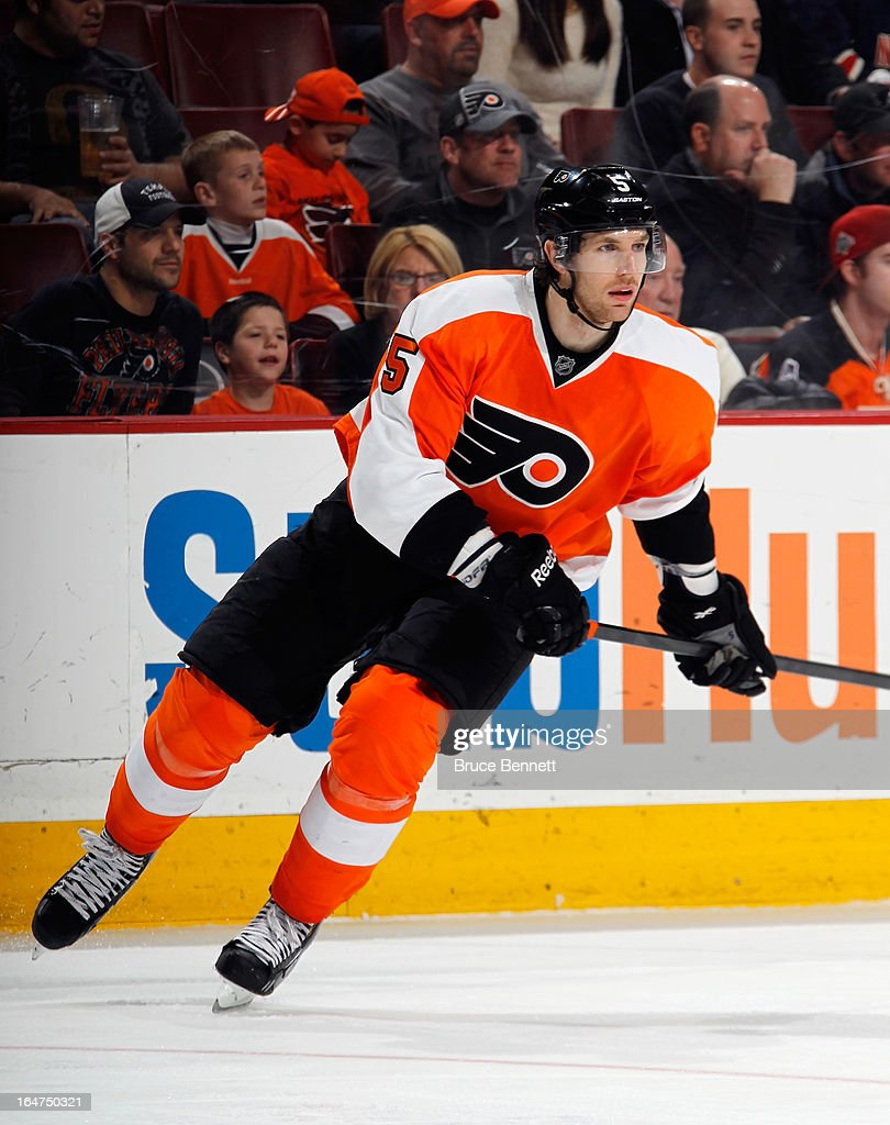 <a gi-track='captionPersonalityLinkClicked' href=/galleries/search?phrase=Braydon+Coburn&family=editorial&specificpeople=2077063 ng-click='$event.stopPropagation()'>Braydon Coburn</a> #5 of the Philadelphia Flyers skates against the New York Rangers at the Wells Fargo Center on March 26, 2013 in Philadelphia, Pennsylvania.