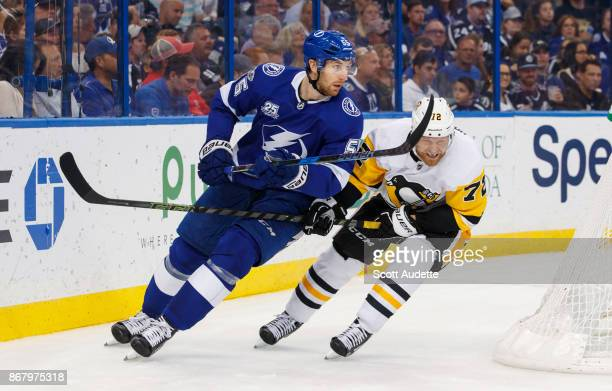 Braydon Coburn of the Tampa Bay Lightning skates against Patric Hornqvist of the Pittsburgh Penguins during the second period at Amalie Arena on...