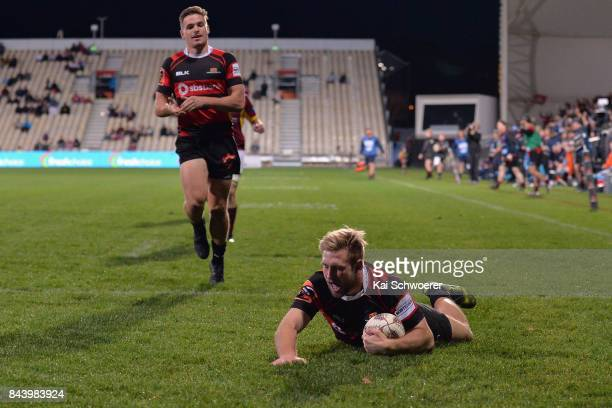 Braydon Ennor of Canterbury dives over to score a try during the Ranfurly Shield round four Mitre 10 Cup match between Canterbury and Southland on...