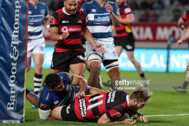 Braydon Ennor of Canterbury scores a try during the round nine Mitre 10 Cup match between Auckland and Canterbury at Eden Park on October 13 2017 in...