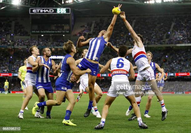 Braydon Preuss of the Kangaroos and Tom Campbell of the Bulldogs compete in a ruck contest during the 2017 AFL round 04 match between the North...