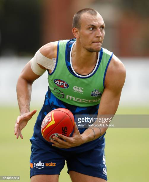 Braydon Preuss of the Kangaroos in action during the North Melbourne Kangaroos training session at Arden St on November 15 2017 in Melbourne Australia