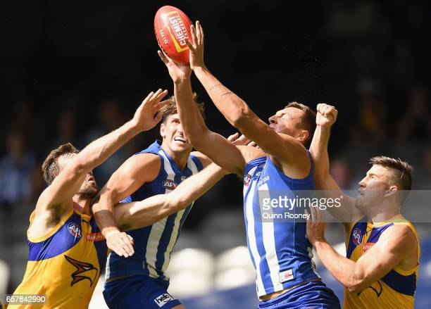 Braydon Preuss of the Kangaroos marks during the round one AFL match between the North Melbourne Kangaroos and the West Coast Eagles at Etihad...