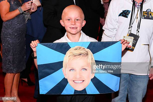 Braylon Beam a 6 year old Denver NC boy battling brain cancer arrives on the Red Carpet with his Ellen DeGeneres flag for the 5th Annual NFL Honors...