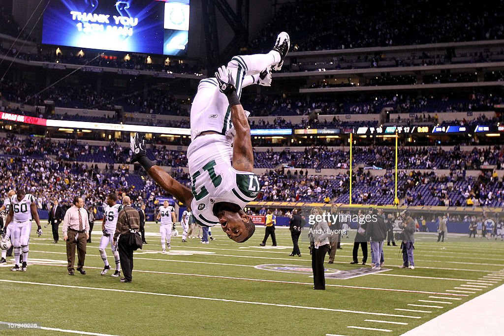 <a gi-track='captionPersonalityLinkClicked' href=/galleries/search?phrase=Braylon+Edwards&family=editorial&specificpeople=210552 ng-click='$event.stopPropagation()'>Braylon Edwards</a> #17 of the New York Jets does a flip in celebration of the Jets 17-16 win against the Indianapolis Colts during their 2011 AFC wild card playoff game at Lucas Oil Stadium on January 8, 2011 in Indianapolis, Indiana.