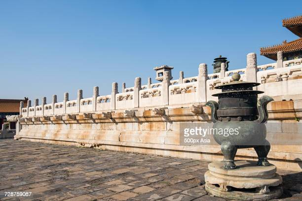 Brazier in front of Forbidden City balustrade, Beijing, China