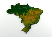 3D rendering of extruded high-resolution physical map (with relief) of Brazil, isolated on white background. Modeled and rendered with Houdini 16.5 Satellite image from NASA: https://visibleearth.nasa